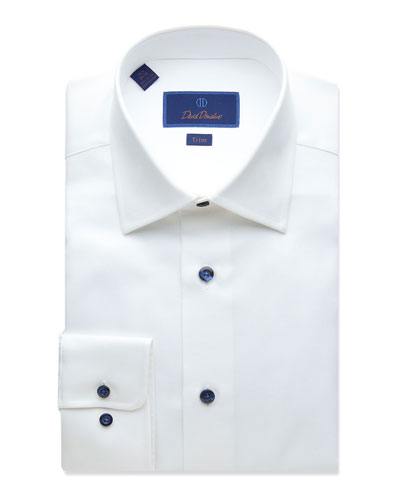 Men's Trim-Fit Textured Dress Shirt