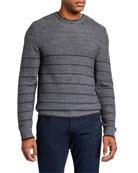 PAIGE Men's Henrick Striped Melange Cotton-Blend Sweater