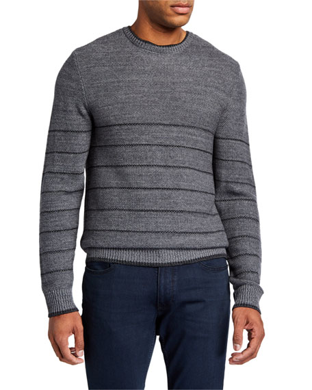 PAIGE Men's Henrick Striped Melange Cotton-Blend Sweater