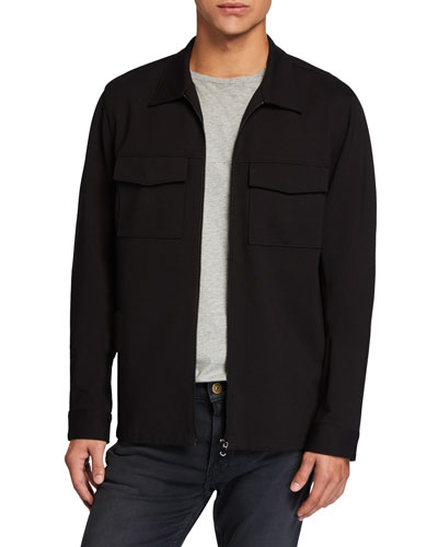 Men's Luca Solid Zip-Front Shirt Jacket
