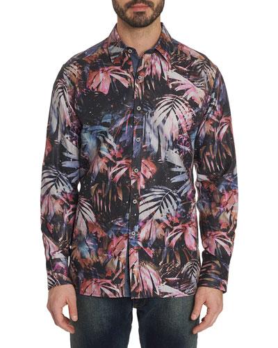 Men's Desperado Foliage-Print Sport Shirt w/ Contrast Reverse Detail