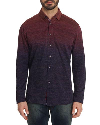 Men's Curtiz Ombre Sport Shirt w/ Contrast Reverse Detail