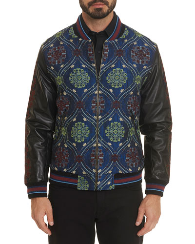 Men's The Sweng Jacquard & Leather Bomber Jacket