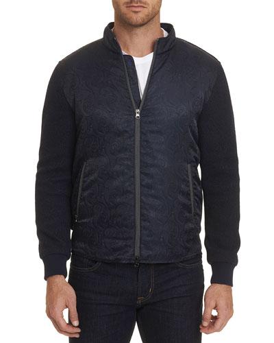 Men's Wuthering Cotton Jersey/Shiny Jacquard Paneled Jacket
