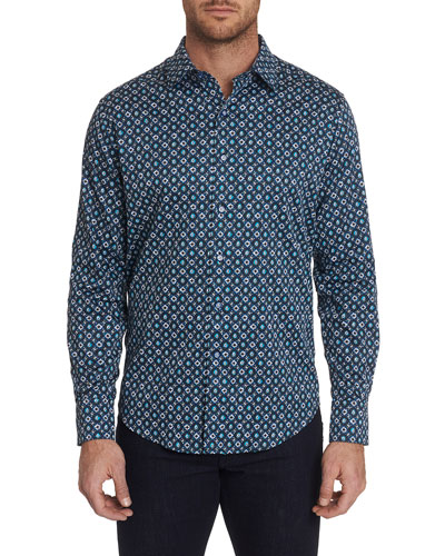 Men's Nicholson Patterned Sport Shirt with Contrast Detail