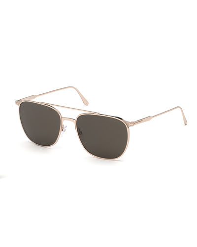 Men's Kip Metal Double-Bridge Aviator Sunglasses