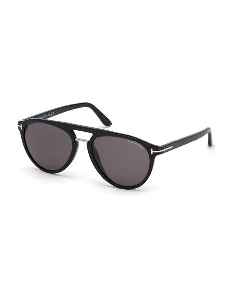 TOM FORD Men's Burton Double-Bridge Modern Aviator Sunglasses
