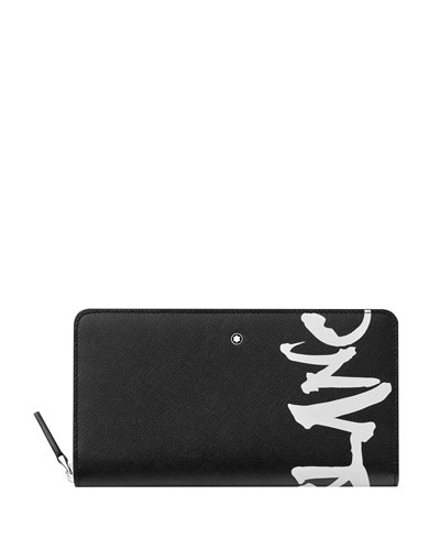 Men's Saffiano Leather Graffiti Logo Wallet
