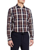 Ermenegildo Zegna Men's Large Plaid Cotton-Linen Sport Shirt