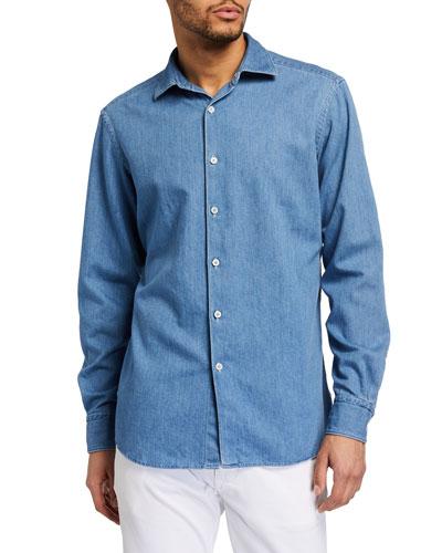 Men's Light-Wash Denim Trim-Fit Sport Shirt