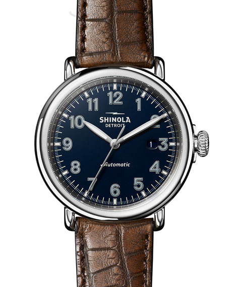 Shinola Men's 45mm Runwell Automatic Watch with Alligator Strap
