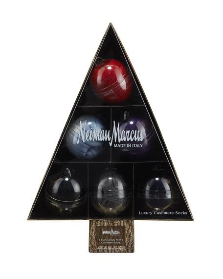 Neiman Marcus Men's 6-Pack Cashmere Socks Ornament Tree Box