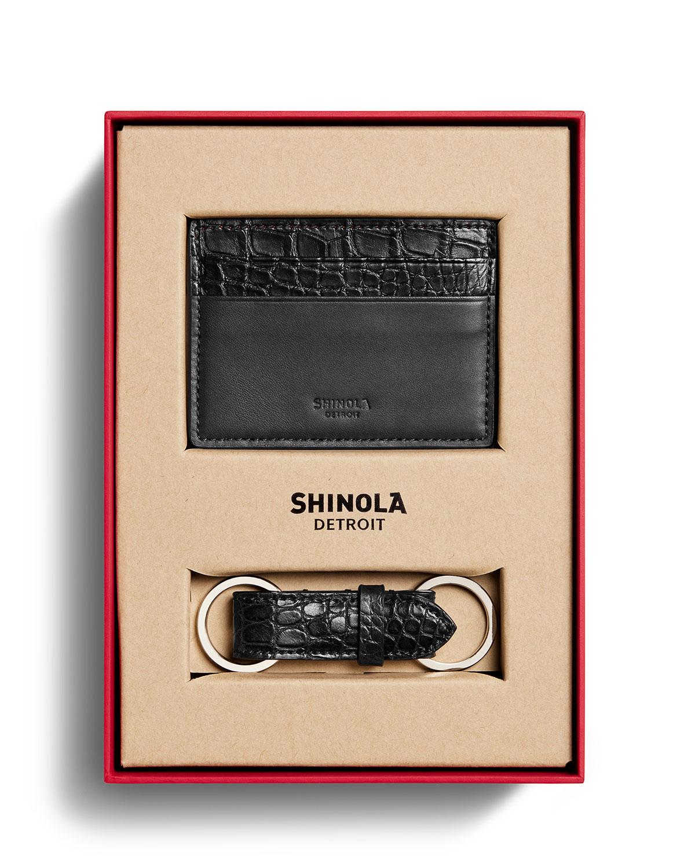Shinola Bags MEN'S ALLIGATOR CARD CASE/KEY FOB BOX SET
