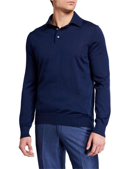 Ermenegildo Zegna Men's Solid Cashmere-Silk Polo Shirt