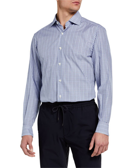 Ermenegildo Zegna Men's Check Regular-Fit Cotton Sport Shirt