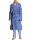Neiman Marcus Men's Flannel Check Brushed Cotton Robe