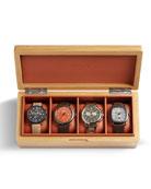 Shinola Men's Oak/Leather Four-Watch Storage Box