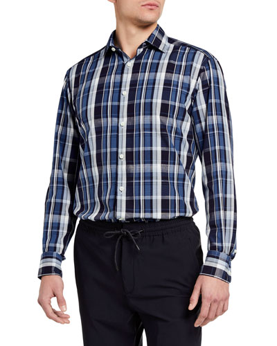 Men's Trim-Fit Large Plaid Long-Sleeve Sport Shirt