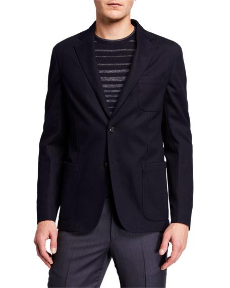 Ermenegildo Zegna Men's Solid Trim-Fit Pique Jersey Blazer