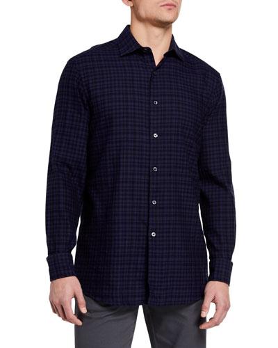 Men's Tonal Gingham Check Trim-Fit Shirt
