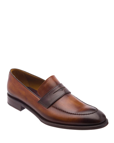 Men's Arezzo Burnished Leather Penny Loafers