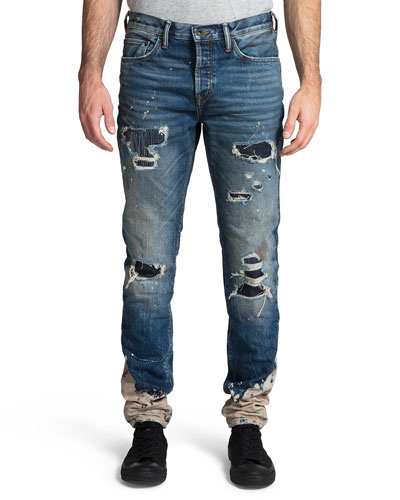 Men's Le Sabre Rip/Repair Bleach-Bottom Jeans