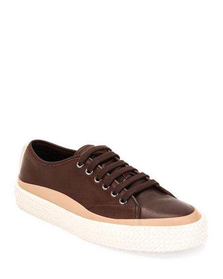 Salvatore Ferragamo Men's Storm Leather Woven-Sole Sneakers