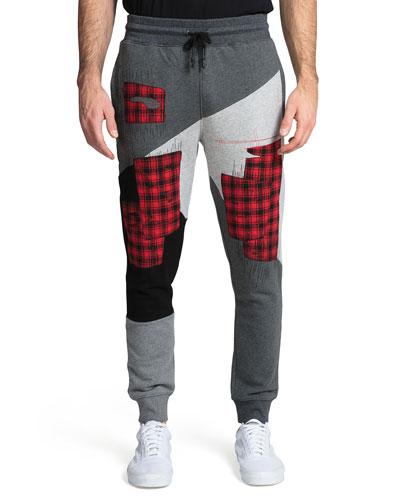 Men's Colorblock Jogger Pants with Plaid Patchwork