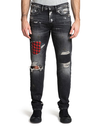 Men's Demon Ripped/Bleached Patchwork Jeans