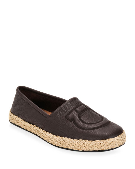 Salvatore Ferragamo Men's Summer Gancio Leather Espadrilles