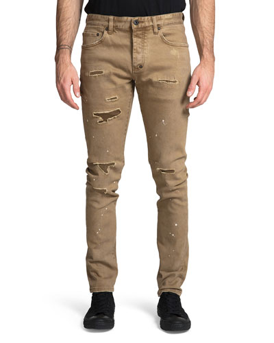 Men's Le Sabre Stretch Rip/Repair Jeans with Paint Spots