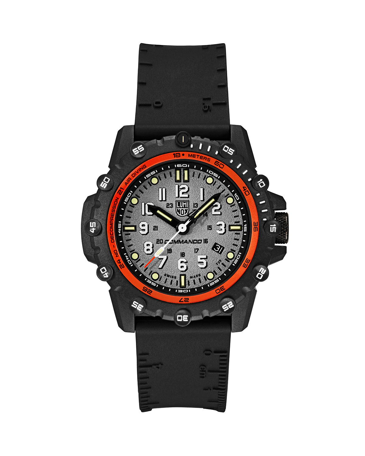 Men's 44mm Commando 3300 Series Watch with Rubber Strap