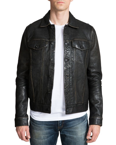 Men's Leather Jacket with Painted Cherub Graphic