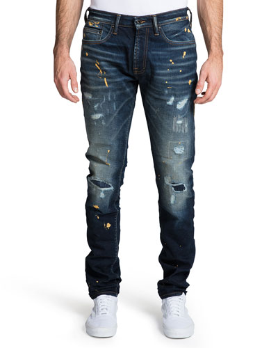 Men's Windsor Distressed Jeans with Paint Splatter
