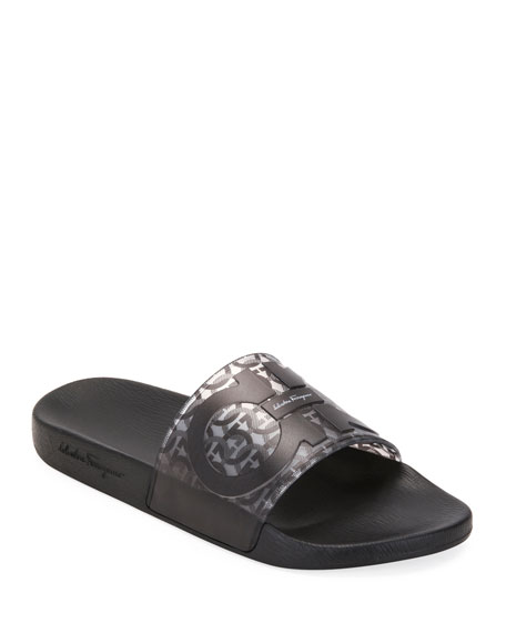 Salvatore Ferragamo Men's Groove 5 Gancini Slide Sandals