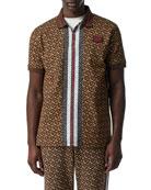 Burberry Men's Marley TB-Monogram Polo Shirt w/ Stripes