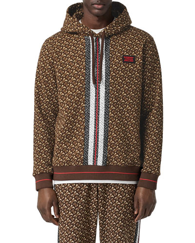 Men's Muckford TB-Monogram Hoodie Sweatshirt w/ Stripes