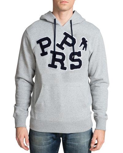 Men's Varsity Logo Applique Hoodie Sweatshirt