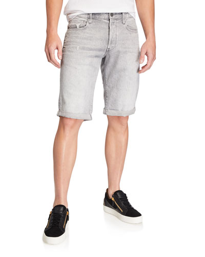 Men's Five-Pocket Dusty Vintage Gray Denim Shorts