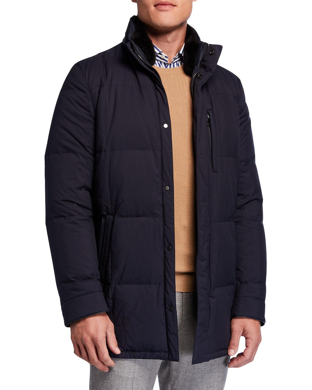 Men's Water-Repellant Quilted Jacket w/ Fur Trim