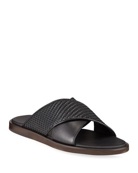 Ermenegildo Zegna Men's Pelle Tessuta Leather Slide Sandals