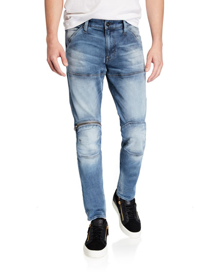 G-Star Men's 3-D Elto Slim Zip-Knee Moto Jeans