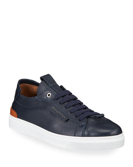 Ermenegildo Zegna Men's Deerskin Leather Low-Top Sneakers