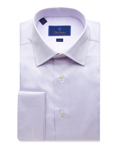 Men's Trim-Fit Micro Dobby Dress Shirt with French Cuffs