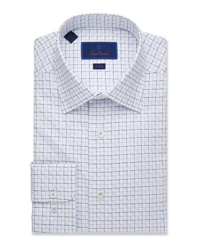 Men's Trim-Fit Box Check Dress Shirt