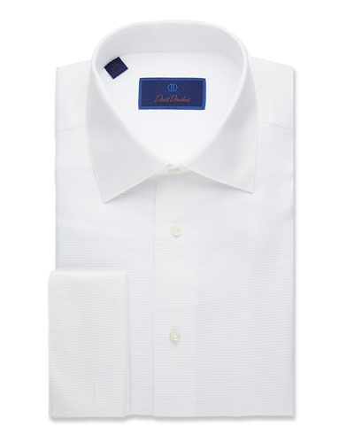 Men's Regular-Fit Horizontal Ribbing Formal Dress Shirt