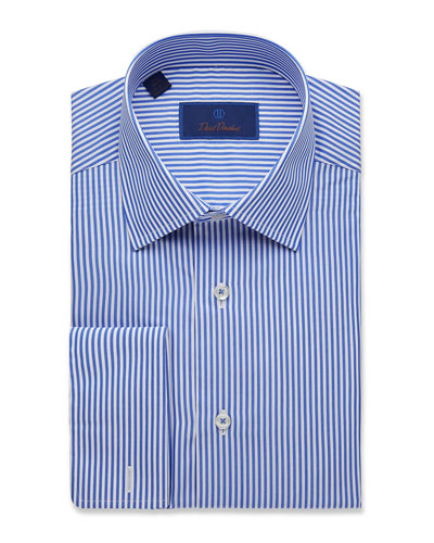 Men's Regular-Fit Classic Stripe Dress Shirt with French Cuffs