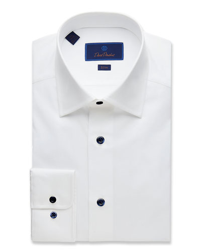 Men's Slim-Fit Superfine Twill Dress Shirt