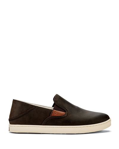 Men's Kahu 'Ili Waxed Nubuck Leather Slip-On Sneakers