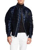 Karl Lagerfeld Men's Oversized Liquid Puffer Bomber Jacket